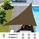 Windscreen4less 12' x 12' x 17' Right Triangle Sun Shade Sail with 6 inch Hardware Kit - Brown Durable UV Shelter Canopy for Patio Outdoor Backyard - Custom