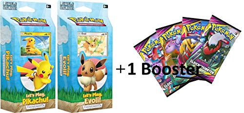 Lively Moments Pokemon Karten Let´s Play - Pikachu & Let´s Play - Evoli Themendecks & 1 Booster Pack Bund der Gleichgesinnten DE Deutsch Sammelkarten