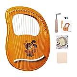 Tragbare Kleine Harfe, 19 Lyre Harfe, Saiteninstrument, Metall Saiten Mahagoni Instrument, Lyre, Einfach Zu Bedienen, Mit Stimmschlüssel Und Saiten Usw,A