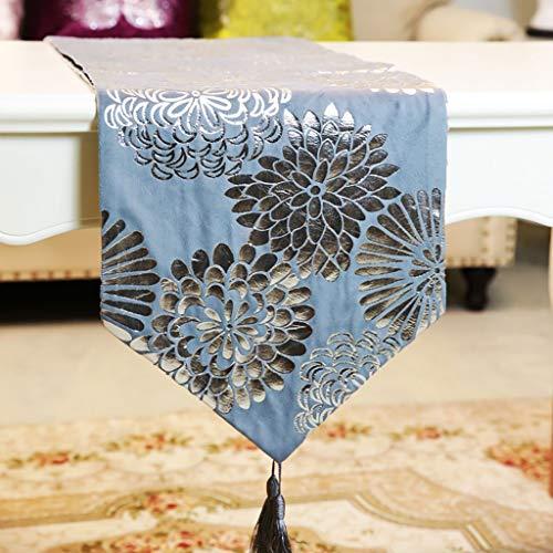 WENJUN Tafelloper Klassieke Tafelloper, Moderne Luxe Jacquard Damask Bloemen Tafellopers En Dressoir Sjaals Met Multi-kwasten,2 Kleuren