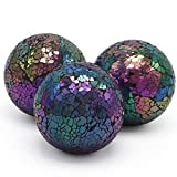 MDLUU 3 Pcs Decorative Orbs, Mosaic Sphere Balls, Centerpiece Balls for Bowls, Vases, Dining Table Decor, Diameter 4 Inches (Mixed Color-Blue)