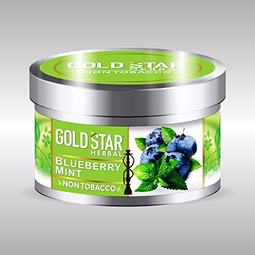 GOLDSTAR Herbal Non Tobacco Smoke Blueberry Mint Flavor Premium Hookah...
