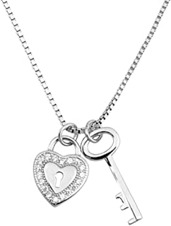 925 Sterling Silver Necklace Heart Lock and Key Pendant with Cubic Zirconia Box Chain 16 inch + 2 inch Extension