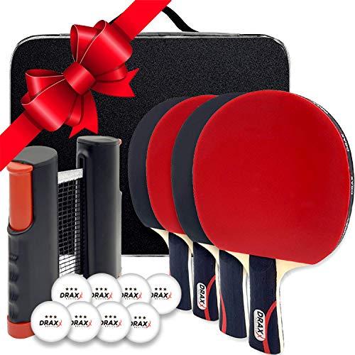 Draxx Kit Sportivo 4 Racchette da Ping Pong con Rete Retrattile + Sacchetto di Trasporto + 8 Palline | Gioco da Tavolo all'aperto per Bambini Adulto Idea Regalo Natale - Set Ping Pong Copertura PRO