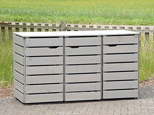 3er Mülltonnenbox / Mülltonnenverkleidung 240 L Holz, Transparent Geölt Grau