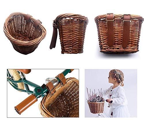Cratone Fahrradkorb Vorne Geflochtener Kinder Geflochtener Weidenkorb Retro Mit braun Lederriemen Kinderfahrräder Fahrradkörbe Hinterradkorb