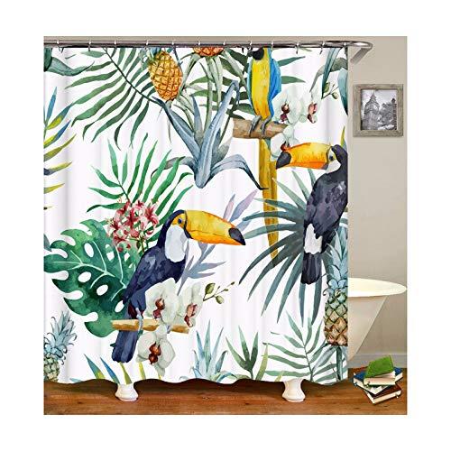 KnSam Duschvorhang mit 12 Vorhanghaken Wasserdicht Anti Schimmel Waschbar Tukan 3D Wasserwürfel Bad Vorhang für Badezimmer Badewanne Badezimmer-Vorhänge Stil 4 120 x 180 cm