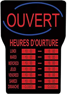 Royal Sovereign LED Open Sign with Business Hours In French, Black Frame, Red Writing and Blue Wave Detail (RSB-1342F)