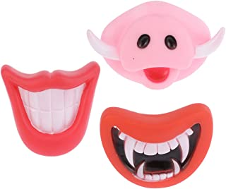 Amosfun Silicone Pet Chew Toys Fake Pig Nose Fangs Smile Mouth Toys Halloween Cosplay Party Favors for Dog Cat 3Pcs