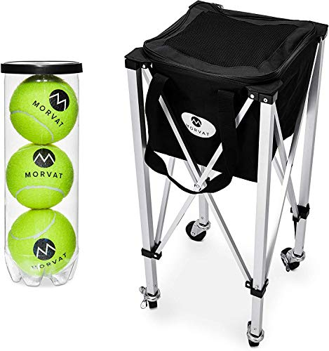 Morvat Tennis Ball Cart (Holds Up to 150 Tennis Balls), Tennis Ball Hopper Basket, Tennis Ball Basket, Tennis Accessories, Tennis Gift, Lightweight, Portable