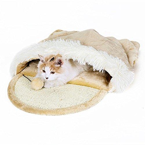Parain Katzenhöhle und Bett für Große Katzen mit Spielzeug, Beige …