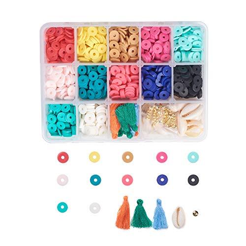 Cheriswelry Heishi - Espaciadores de discos redondos planos de 8 mm con borlas y cuentas de concha, alrededor de 1640 unidades/caja para hacer collares de joyería Heishi