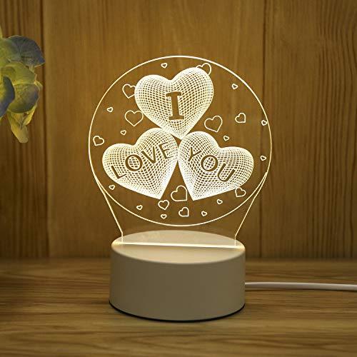 3D kleine Tischlampe Geschenk Licht kreative warme Schlafzimmer Korridor Nachttischlampe Neue USB Nachtlicht Liebe USB Monochrom