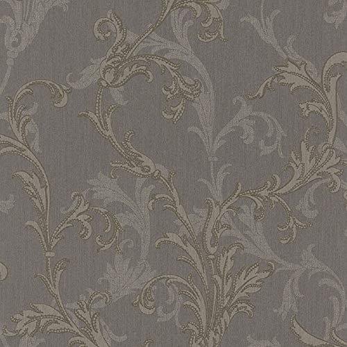 Casa Padrino Barock Textiltapete Grau/Silber/Braun 10,05 x 0,53 m - Hochwertige Wohnzimmer Tapete im Barockstil