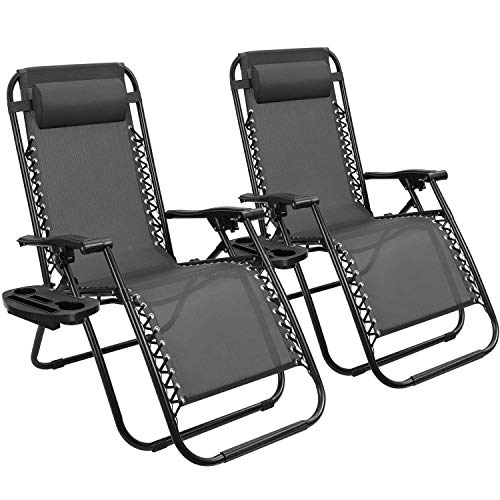 Devoko Patio Zero Gravity Chair Outdoor Free Folding Adjustable Chaise Lounge Chairs Beach Pool Side Using Reclining with Pillow Set of 2 (Black)