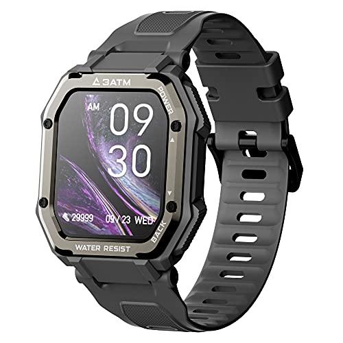 Reloj inteligente para todo el día, monitor de ritmo cardíaco y sueño, pantalla táctil TFT de 1.7 pulgadas, pulsera impermeable de 3 ATM, batería de 350 mAh, 20 modos deportivos negro