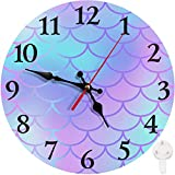 Britimes Round Wall Clock, Silent Non Ticking Clock 10 Inch, Decor for Bathroom, Bedroom, Kitchen, Office or School Mermaid Scale
