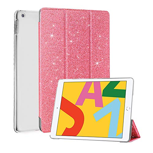 CASZONE iPad 10.2 Inch 2019 Case Glitter - Slim Lightweight Luxury Faux Leather Trifold Stand Smart Cover with Auto Sleep/Wake, Rugged Transparent Back Cover for iPad 7th Generation 10.2'' 2019, Pink
