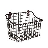 Spectrum Diversified Vintage Large Cabinet & Wall-Mounted Basket for Storage & Organization Rustic Farmhouse Decor, Sturdy Steel Wire Storage Bin, Bronze