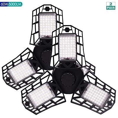2 Pack LED Garage Lights, 60W Deformable LED Garage Ceiling Lights with 3 Adjustable Panels, 6000LM, E26 LED Shop Lights for Garage, Warehouse, Basement, Barn Light (No Motion Detection) (60W- 2 PACK)