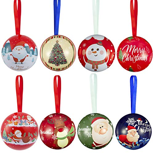 Biubee 8 Pcs Christmas Tinplate Candy Ball Box- Cute and Creative Christmas Tree Candy Iron Balls Pendant Xmas Detachable Candy Box Hanging Ornament for Christmas Holiday Gifts Tree Decoration