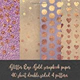 glitter rose gold scrapbook paper 40 sheet double sided 4 pattern: card making DIY crafting - origami - decoupage - paper craft - collage art - kirigami - Decorative crafting Paper for Card Making