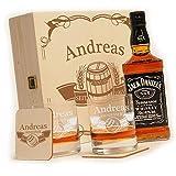 polar-effekt 6-TLG Whisky Geschenk-Set mit Jack Daniels No.7 | 2 Whiskygläser, 2 Untersetzer und Whiskey Flasche in Geschenk-Box mit Gravur - Individuelles Geschenkidee - Motiv Fass im Banner