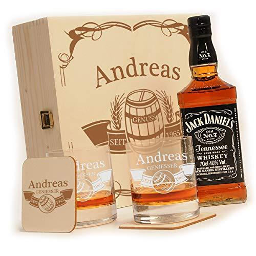 polar-effekt 6-TLG Whisky Geschenk-Set mit Jack Daniels No.7-2 Whiskygläser, 2 Untersetzer und Whiskey Flasche in Geschenk-Box mit Gravur - Individuelles Geschenkidee - Motiv Fass im Banner Titelbild