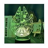 Luz nocturna LED 3D de Star Wars, modelo de nave estelar para decoración de escritorio infantil, regalo para amigos y familia (7 colores sin mando a distancia)