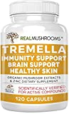 Tremella Mushroom Extract, Mushroom Supplement for Immunity Support, Brain Support and Healthy Skin, Vegan and Non-GMO (120 Caps)
