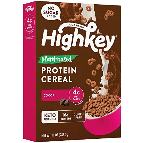 HighKey Plant Based Protein Cereal - Keto Chocolate Breakfast Low Net Carb & Zero Sugar Low Carb Snacks Gluten Free Foods Vegan Cold Cereals Paleo Snack Ketogenic Diet Friendly Cocoa