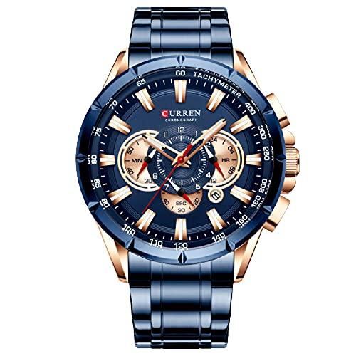 Legxaomi Relojes de los hombres, relojes de los hombres cronógrafo impermeable, ejército militar de acero inoxidable masculino reloj superior marca de lujo de los hombres reloj deportivo Bluewatch
