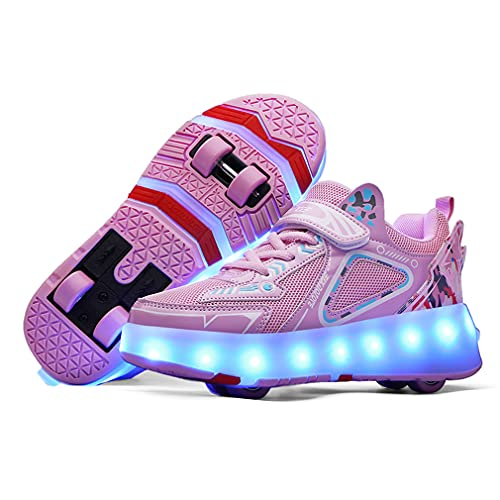 Unisex Niño Niños Niña USB Recargar 16 Colore Brillante Sneaker LED Zapatos 4 Rueda Moda Zapatos Calzado Deportivo Aire Libre Deporte Skateboarding Gimnasia Aptitud Zapatillas