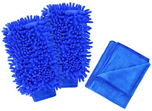 com-four® 3-teiles Autopflege-Set mit Microfasertuch und Autowaschhandschuh - Mikrofasertuch - Auto-Poliertuch - Autopflege-Tuch (03-teilig - Autowasch-Set)