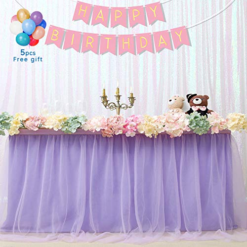B-COOL Light purple Tulle Tutu Table Skirt 3 yards Tulle Table Cloth Skirt Customized Romantic Girl Princess Birthday Party Table Skirts Banquet Table Decorations (L9(ft) H 30in)