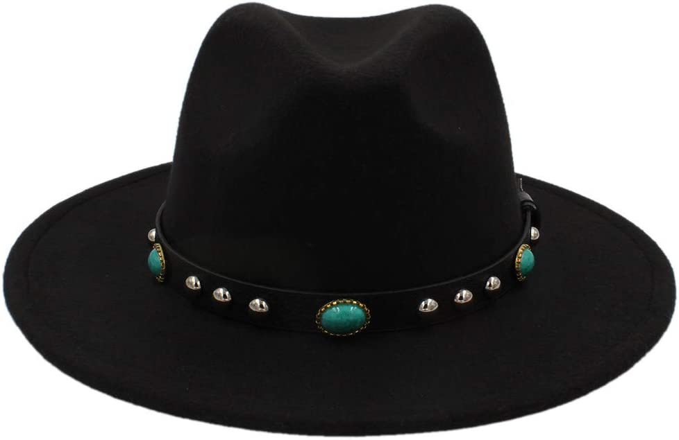 Fashion Vintage Hat with Jewelry Wool Fedora Hat Bohemia Women Wool Felt Hat,Lightweight,Breathable (Color : Black, Size : 56-58cm)