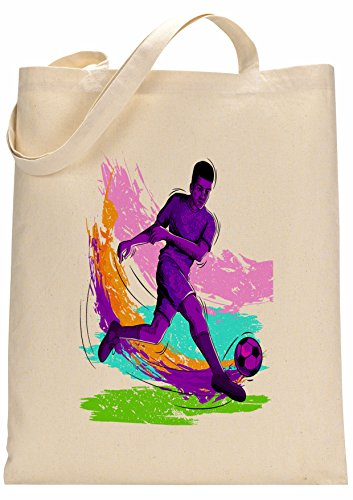 FunnyWear Football Player Kicking Ball Colorful Made Tote Bag