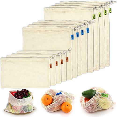 Reusable Produce Bags, Organic Cotton Mesh Bags for Grocery Shopping and Storage with Tare Weight on Tags, Double-Stitched Seams, Machine Washable, Biodegradable, Eco-Friendly, Set of 12 (4S,4M,4L)