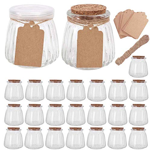 Betrome 4 OZ Glass Jars with PE and Cork Lids, Mini Pudding Yogurt Jars for Wedding Favors, Shower Favors, Baby Food(24 Pack)