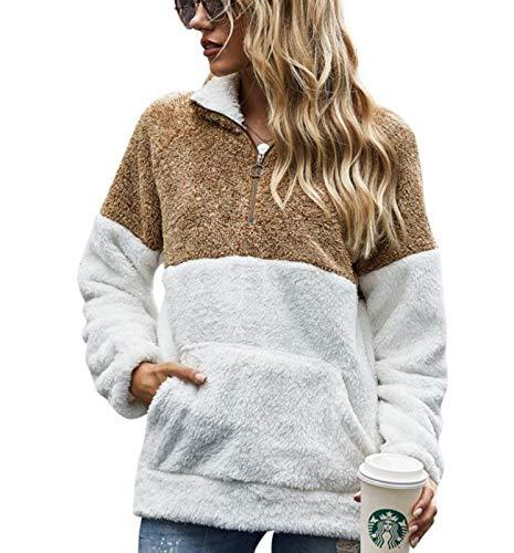 WPJ Abrigo de Mujer Nuevo de Primavera y Otoño, Jersey de Patchwork, Jersey de Felpa Teñido, Abrigo Suelto de Mujer (Color : Camel, Talla : L)