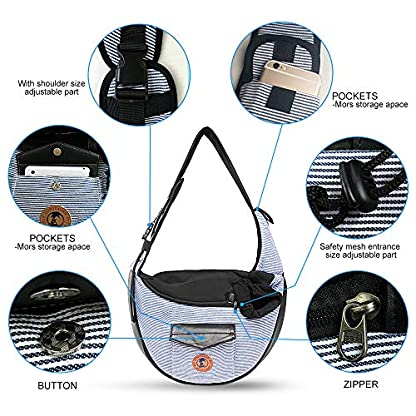 Zuukoo Pet Carrier, Dog Sling Bag Puppy Hands-free Sling Travel Carrier Bag with Adjustable Strap For Small Pets Perfect for Walking, Traveling or Daily Use 4