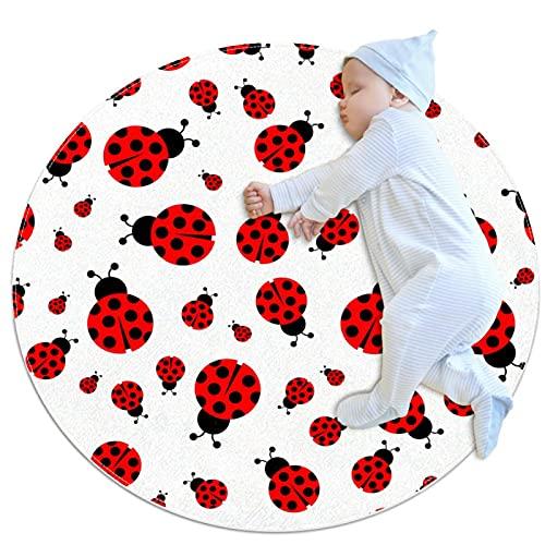 Ladybug Seamless Red Pattern Vector Moderno Antideslizante Alfombra Ronda Lavables Area Alfombras Para Sala Dormitorio Niños Sala de Juegos 100cm Suave Interior Suelo Alfombras