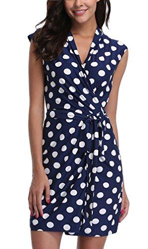 MISS MOLY Vestido Formal con Lazo de Cintura Vestido Retro Vintage Plisado Cruzado Azul - XL