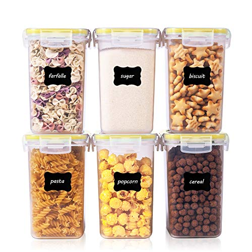 Vtopmart 1.6L Vorratsdosen Set, Müsli Schüttdose & Frischhaltedosen, BPA frei Kunststoff Vorratsdosen luftdicht,Trockenfutterbehälter, Satz mit 6, 24 Etiketten für Getreide, Mehl, Zucker usw (Gelb)