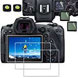 Glass Screen Protector Compatible for Canon EOS R5 Full-Frame Mirrorless Camera ,debous Anti-scratch Tempered Glass Hard Protective Film Cover (3pack),include 3 pet Top screen protector,2 hot show level cover