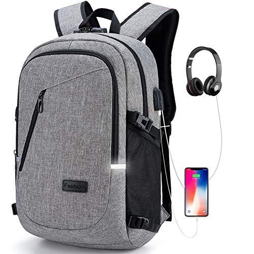 DOXUNGOO Mochila para portátil, Bloqueo Mochila portátil Delgada con Puerto de Carga USB y Puerto para audífonos,para portátil y Tableta iPad de hasta 15.6 Pulgadas
