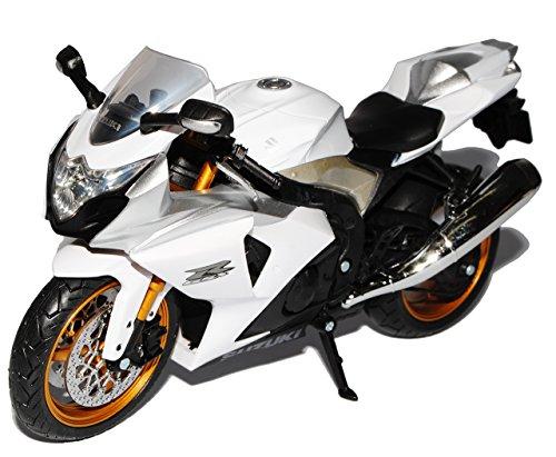 Unbekannt Suzuki GSX R1000 Weiss Silber 1/12 Automaxx Modell Motorrad mit individiuellem Wunschkennzeichen