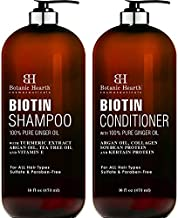 BOTANIC HEARTH Biotin Shampoo and Conditioner Set - with Ginger Oil & Keratin for Hair Loss and Thinning Hair - Fights Hair Loss, Promotes Hair Growth - Sulfate Free - for Men and Women, 16 fl oz x 2
