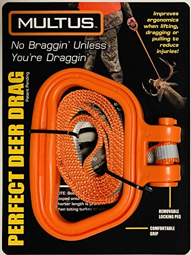 MULTUS: Perfect Deer Drag Fast & Easy to use Durable Safety Reflective Orange Strap Compact Comfort Grip Handle Game Dragger and Turkey Tote