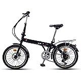 QIANG Bicicleta Plegable para Mujeres Bicicleta Ligera De Aleación De Aluminio De 20 Pulgadas Doble Disco De 7 Velocidades Marco De Acero Al Carbono Unisex Guardabarros Delantero + Trasero,Black